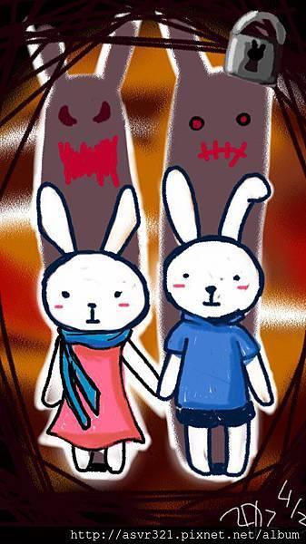 筆袋上的兔兔