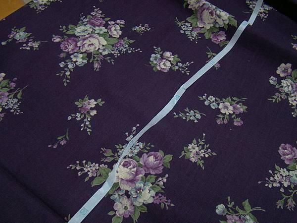 紫色花棉麻布 280