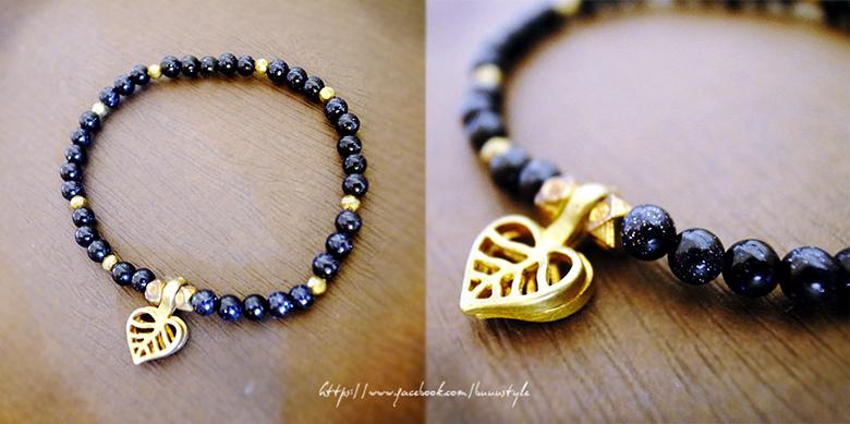 Handmade by BubuStyle --- 藍金砂石黃銅手鍊