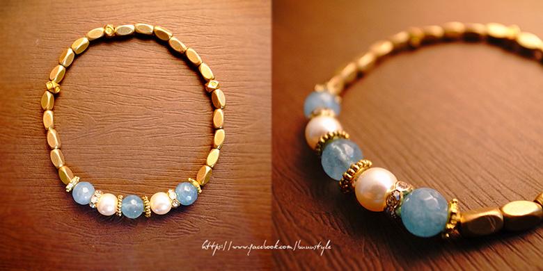 海藍寶佐珍珠黃銅水鑽手環