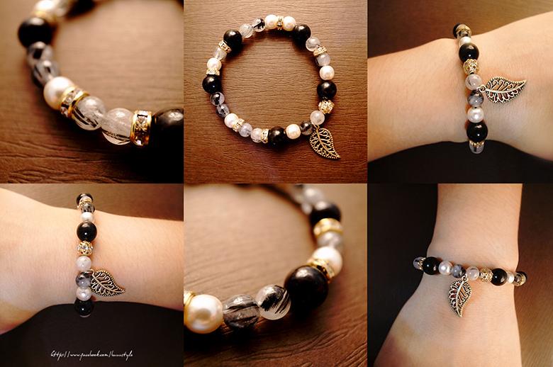 頂級黑髮晶+黑瑪瑙佐珍珠水鑽手環