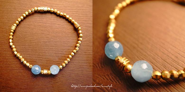 海藍寶頂級黃銅手鍊