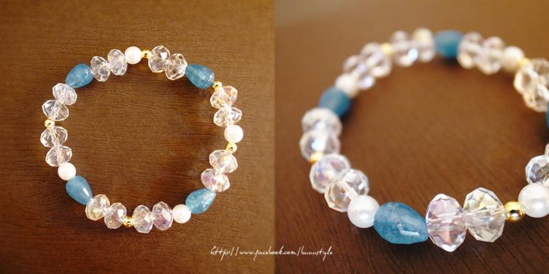 海藍寶佐奧地利水晶珍珠手環