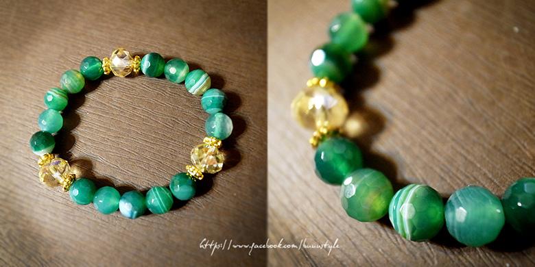 綠瑪瑙x奧地利白水晶手鍊