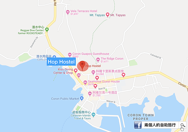 coron hop hostel location.png
