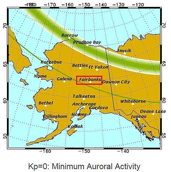 極光橢圓區 Kp=0 阿拉斯加