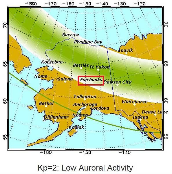 極光橢圓區 Kp=2 阿拉斯加