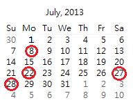 2013-07 月曆