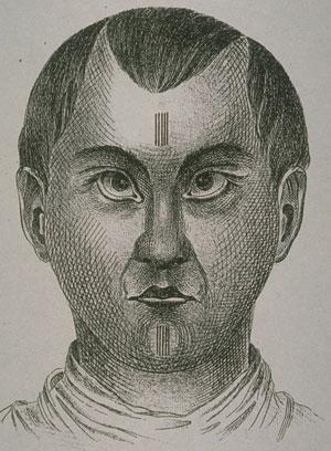 生番男人臉上的刺青方式