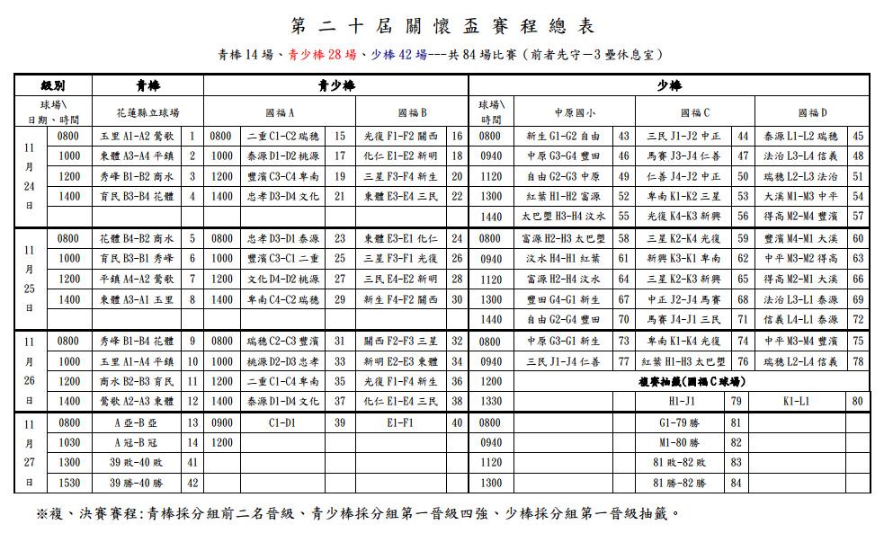 20131124關懷盃賽程總表