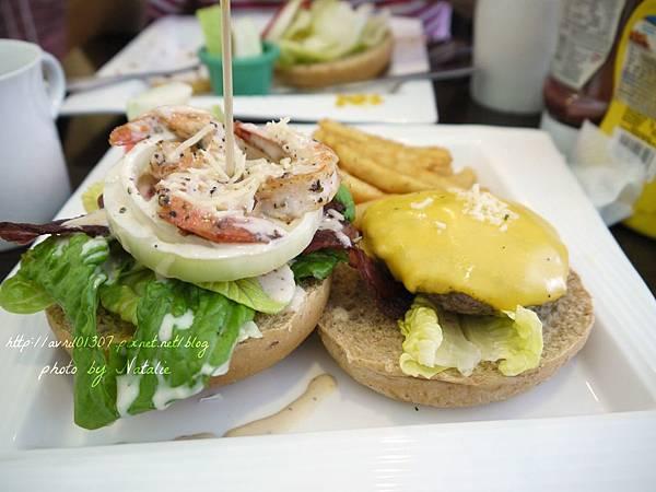 香煎鮮蝦牛肉漢堡