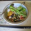 [寬心園] 如意套餐的沙拉:和風蔬菜沙拉,日式醬料的味道超特別....