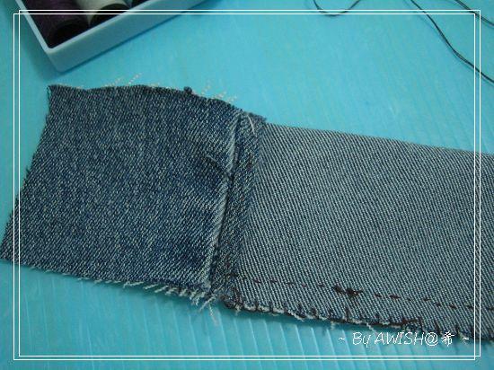[環保] 剪下的褲管,邊緣有折邊,剛好拿來當上緣的蓋布。