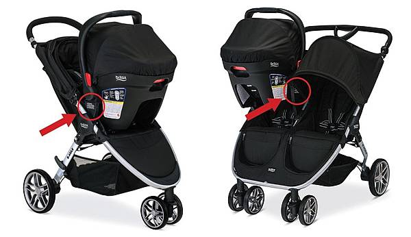 Britax B-Agile and double stroller in travel system mode.jpg