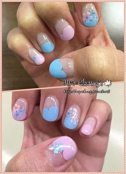粉藍X粉紅小花光療 (10)