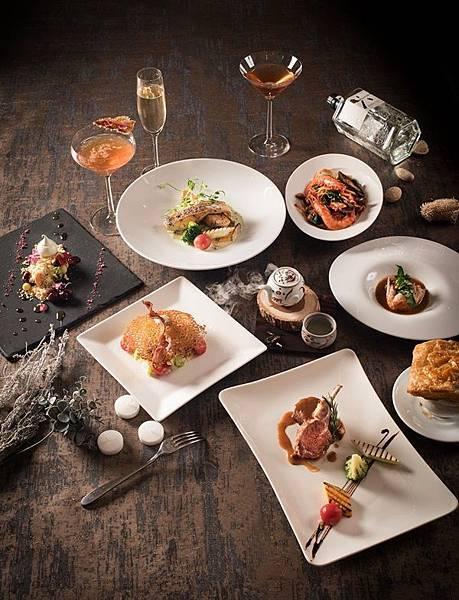 「The Lounge」推出琴酒版周三「微醺餐酒夜」,精心設計三款調酒「生菜沙拉」、「老人與海」、「酒後茶餘」,搭配內含6道菜的季節限定套餐,期間限定4月至6月。(圖/六福旅遊集團提供).jpg