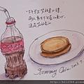 卡達水性蠟筆速寫:可樂和奶油餅