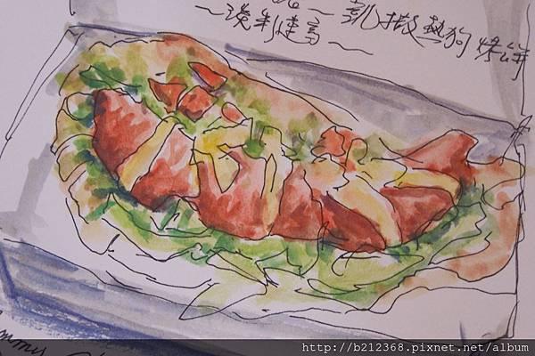 淡彩速寫摩斯的餐點 / 凱薩熱狗烤餅