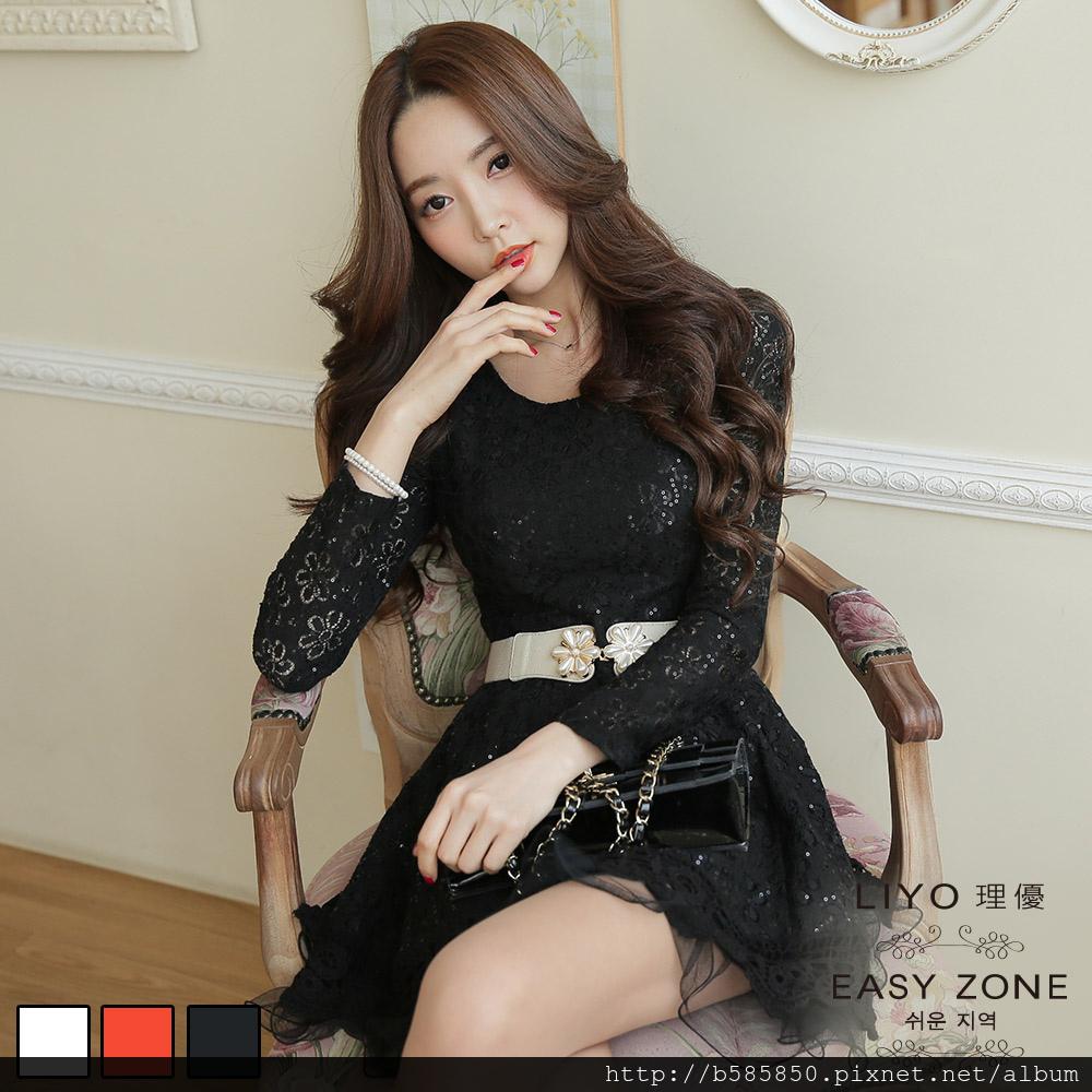 洋裝 韓系蕾絲修身蓬蓬裙洋裝(白,橘,黑)LIYO理優