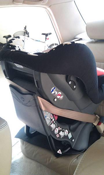 安全座椅向後綁法-前側照