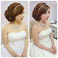 甜美風 側邊線條式編髪 往往也是新娘常指定的髮型喔