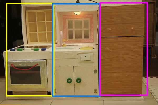 整個紙箱廚房分三部份