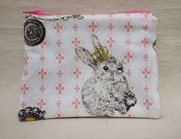 鑰匙零錢包 皇冠兔 白