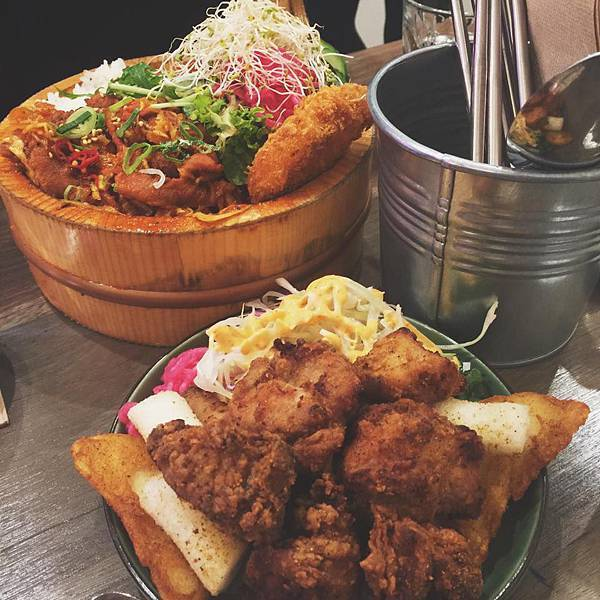Korean Pork Dosirak and fried chicken