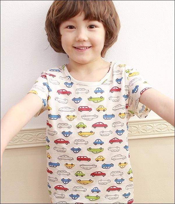 韓國製Tom&Jane無螢光染棉春夏家居服_短袖可愛玩具車