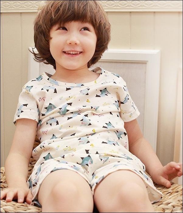 韓國製Tom&Jane無螢光染棉春夏家居服_短袖逗趣鯊魚
