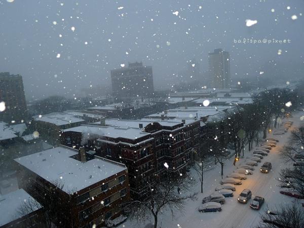 傍晚下雪+閃光燈