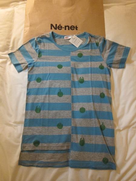 日本設計師品牌Ne-net 全新百貨正品 灰藍橫條小圖 T恤 直購價2580元