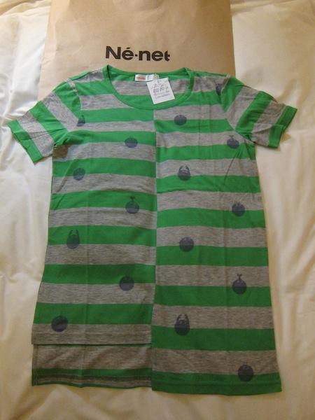 日本設計師品牌Ne-net 全新百貨正品 灰綠橫條小圖 T恤 直購價2580元