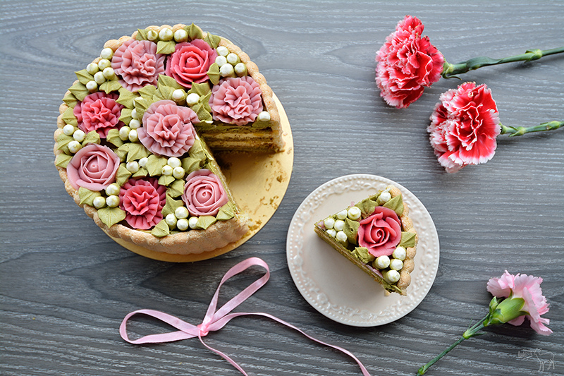 凡內莎烘焙工作室:栗子桂花慕斯抹茶蛋糕,像花朵一樣的母親節蛋糕生日蛋糕
