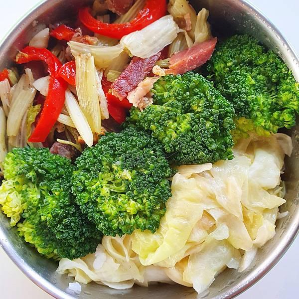 今日午餐:甜椒、芹菜、花椰菜、高麗菜、德國豬腳肉,2020.11.18