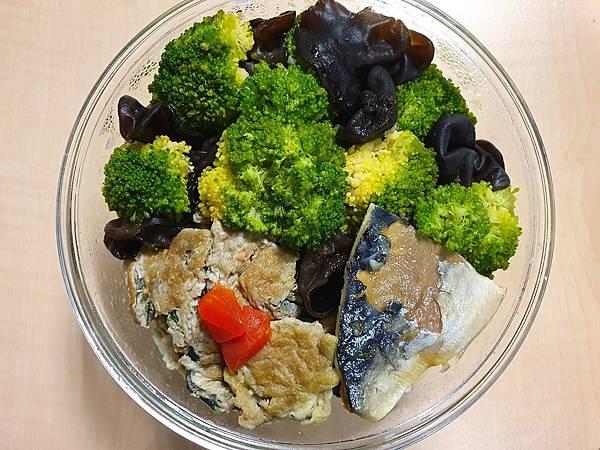 今日午餐:黑木耳、鯖魚、水果椒、九層塔炒蛋、青花菜,2021.02.22