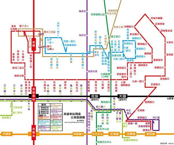 高雄車站周邊公車路網圖