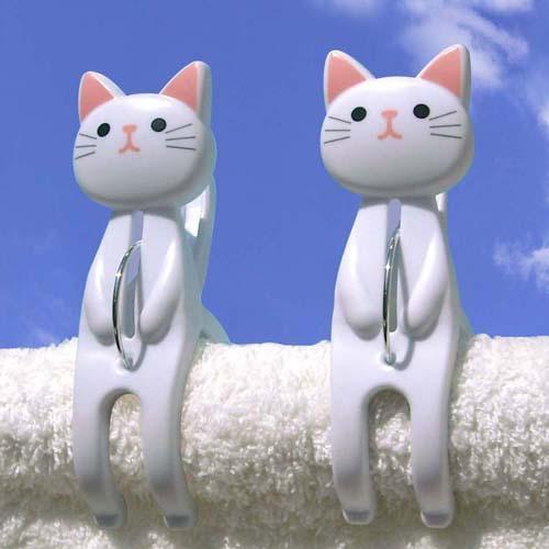 晒衣夾-白貓