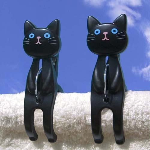 晒衣夾-黑貓