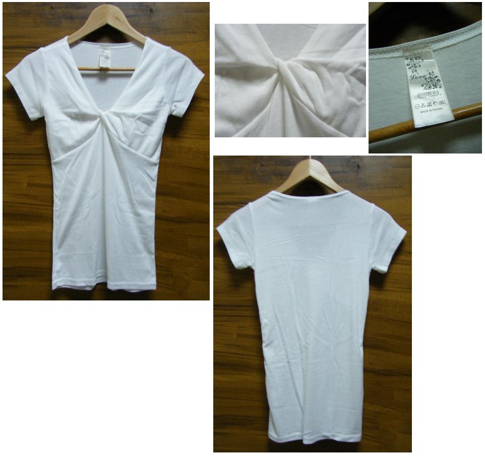視覺UPUP純色V領胸前扭轉設計棉質短袖上衣實品.jpg