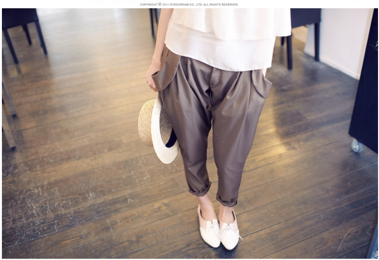 韓版舒適剪裁反摺口袋設計後鬆緊褲頭老爺直筒褲附皮帶.jpg