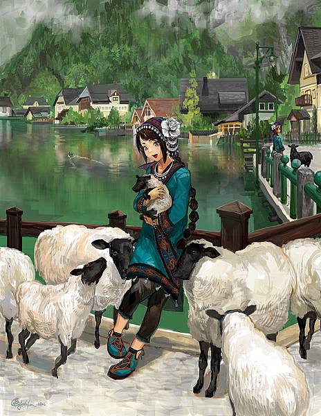 Sheep with a Girl