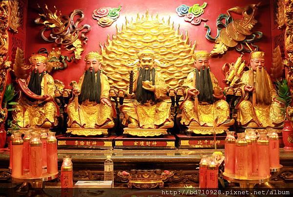 天官財神、季倫財神、玄壇財神、比干財神、萬山財神聖像