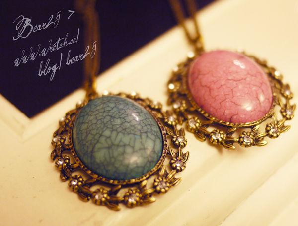 N02 復古裂紋寶石項鍊-藍