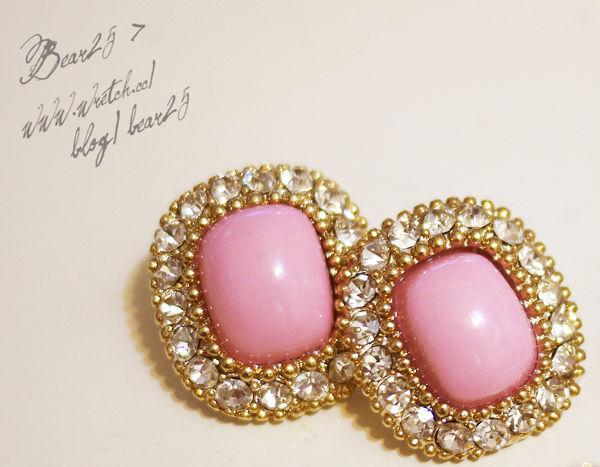 水鑽寶石耳環(粉)A32