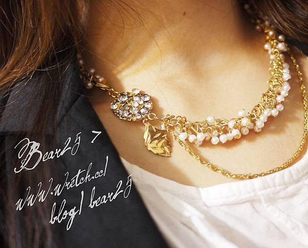 N12水鑽葉子珍珠短鏈