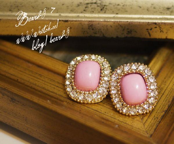E04 韓國水鑽寶石耳環