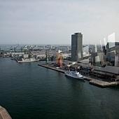 神戶港塔展望三樓的旋轉喫茶窗景
