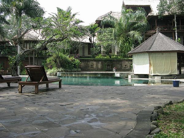 餐廳旁的造景,一個大又漂亮的泳池