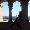 由迴廊上可眺望對岸新哥德式的國會大廈及多瑙河上來往的船舶